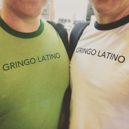 Fernando and Jason model their Gringo Latino T-Shirts