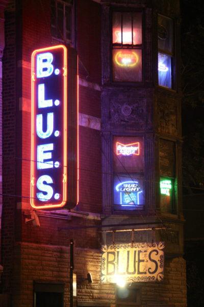 The neon signs at B.L.U.E.S