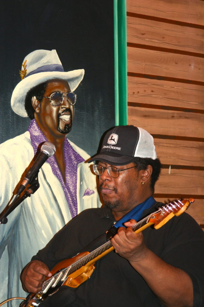 A performer at Kingston Mines Blues Club