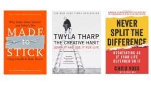 3 Book Covers: Made to Stick, Creative Habit + Never Split the Difference